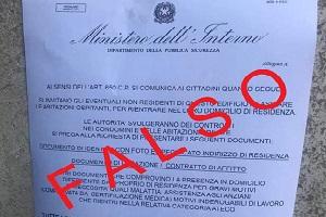 Attenzione a falso volantino intestato al Ministero dell'Interno