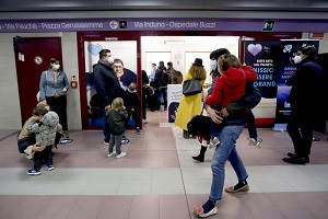 Vaccino spray per bimbi alla stazione MM Gerusalemme