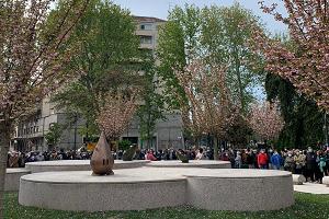 Piazza Piola, inaugurato il giardino Teresa Pomodo