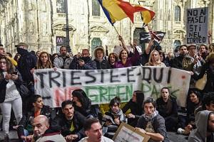 Corteo no green pass solidale con Trieste